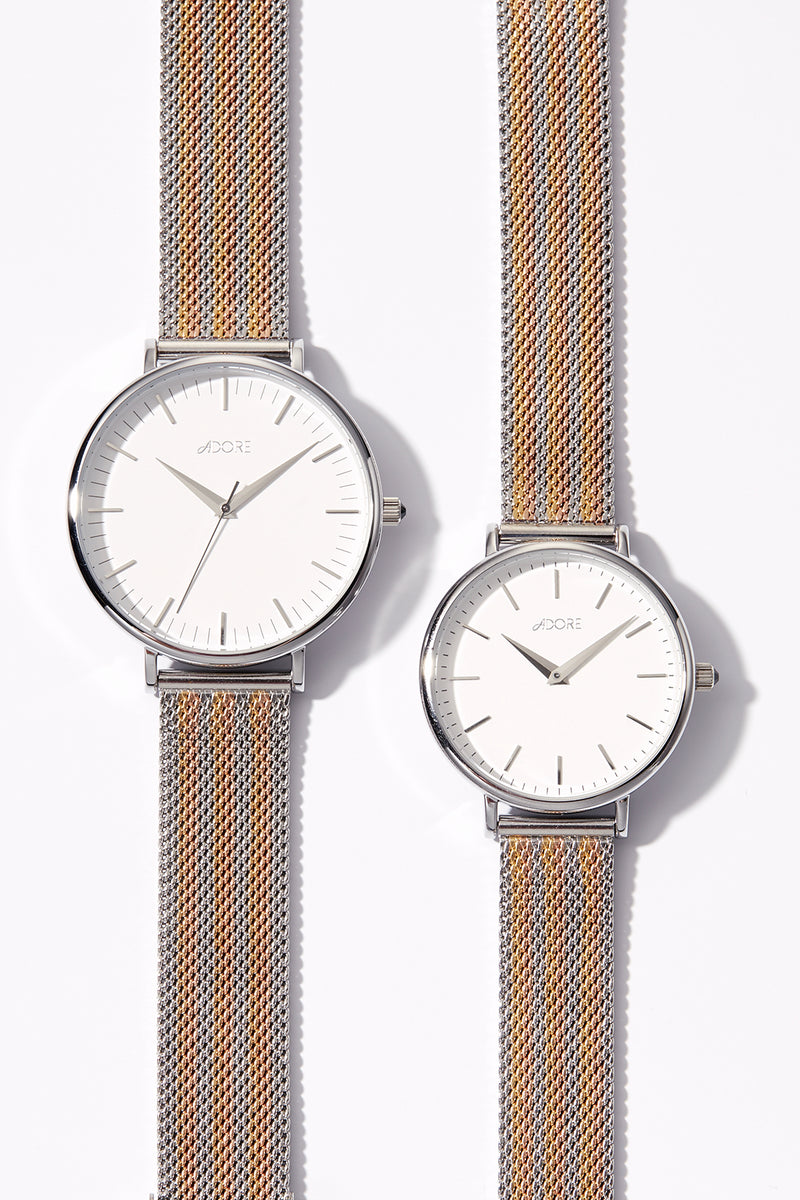 Adore Shimmer 33mm Tri Tone Mesh Watch Image
