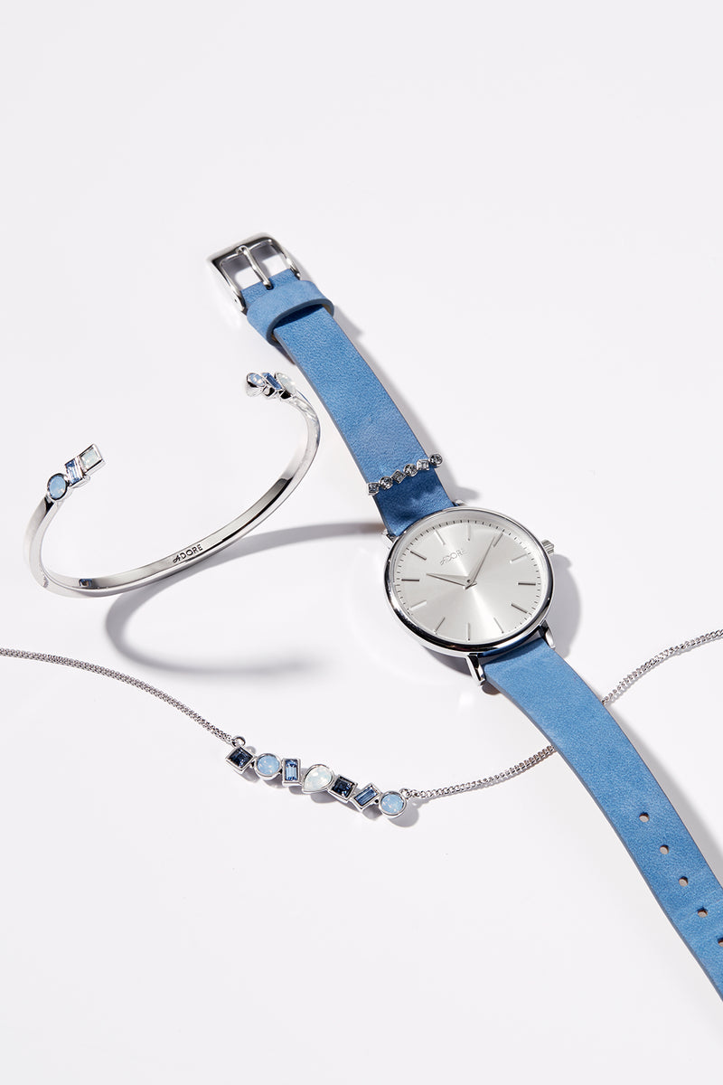 Adore Brilliance 33mm Light Blue Leather Watch