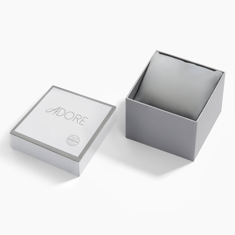 Adore Brilliance 33mm Black Leather Watch Rhodium Packaging