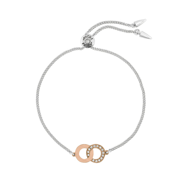Interlocking Ring Slide Bracelet - Crystal/Rhodium/Rose Gold Plated