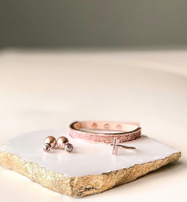 Crystal Fabric & Leather Cuff - Crystal/Rose Gold Plated