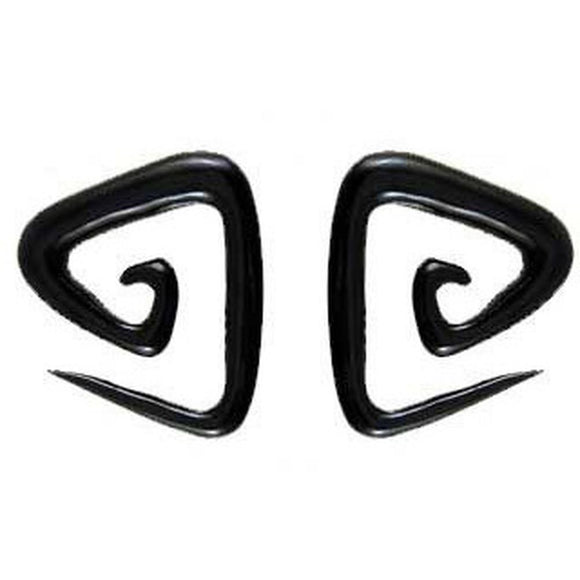 0 Gauge Earrings | Triangle spiral. 0 Gauges, Black Horn. Organic Body Jewelry.