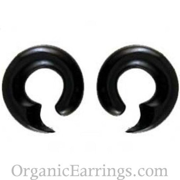00 Gauge Earrings | Talon Hoop, black, horn. 00 Gauge Earrings