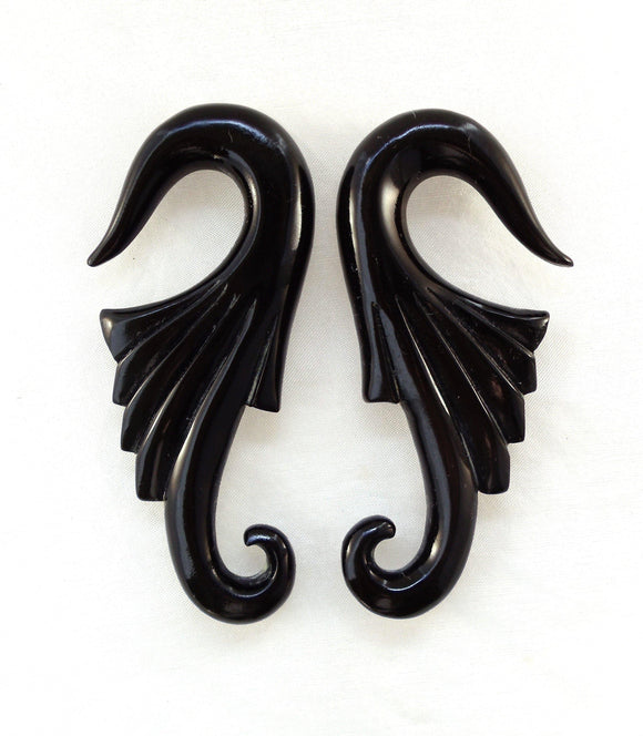 Black 00 Gauge Earrings | Nouveau Wings. Horn 00g Organic Body Jewelry.