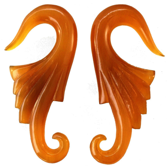 Tribal 00 Gauge Earrings | Nouveau Wings. Amber Horn 00g Organic Body Jewelry.