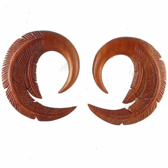 Tribal 00 Gauge Earrings | Feather. Sabo Wood 00g Organic Body Jewelry.
