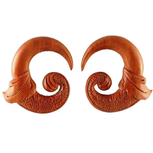 $30 to $50 Spiral Earrings | Nectar Bird. Sabo Wood 00g Organic Body Jewelry.