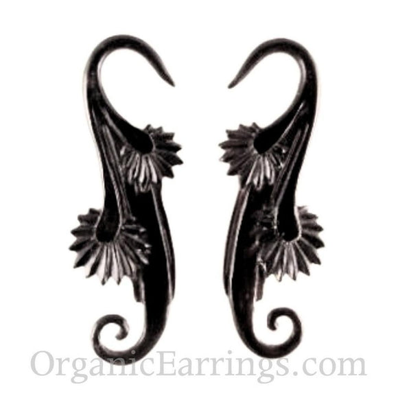 For stretched ears: 10 Gauge Earrings | Willow Blossom, black. Horn 10 gauge earrings.