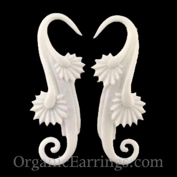 10 Gauge Earrings | Willow Blossom, white. Bone 10 g body jewelry.