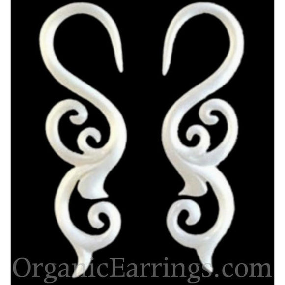10 Gauge Earrings | Trilogy Sprout. 10 Gauges, bone, white. Organic Body Jewelry.