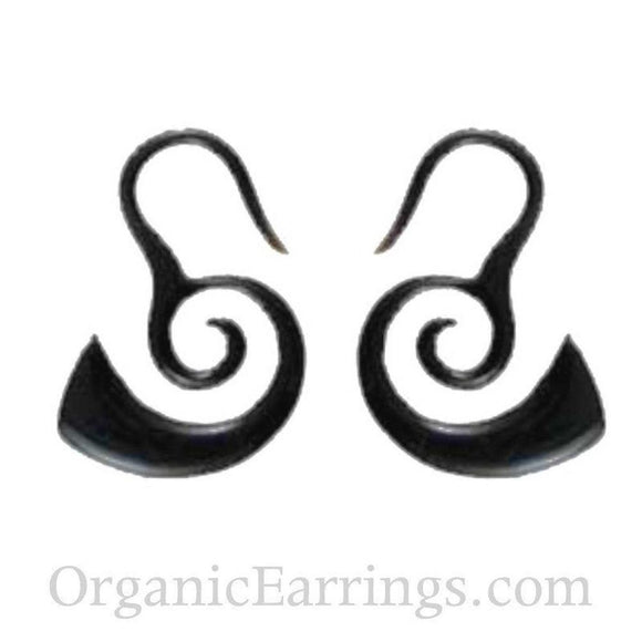 Buffalo horn Spiral Earrings | Borneo Spirals, black. Horn 12 gauge earrings