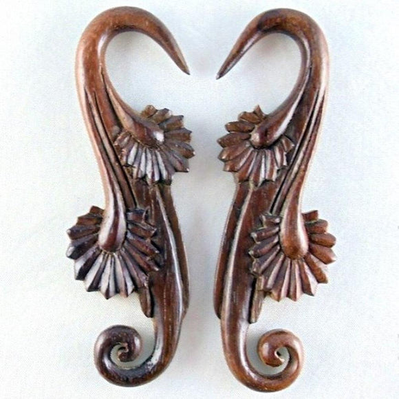 6 Gauge Earrings | Willow Blossom, sono, wood. 6 g body jewelry.