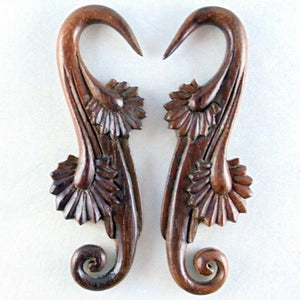 Wood Body Jewelry | Willow Blossom, 6 gauge, Sono Wood Earrings.