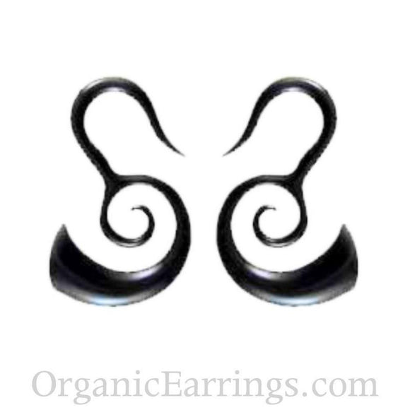 Buffalo horn Spiral Earrings | Borneo Spirals. Horn 8g Organic Body Jewelry.