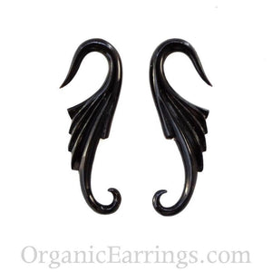 Organic Body Jewelry | Nuevo Wings, black. natural. 12 Gauge Earrings