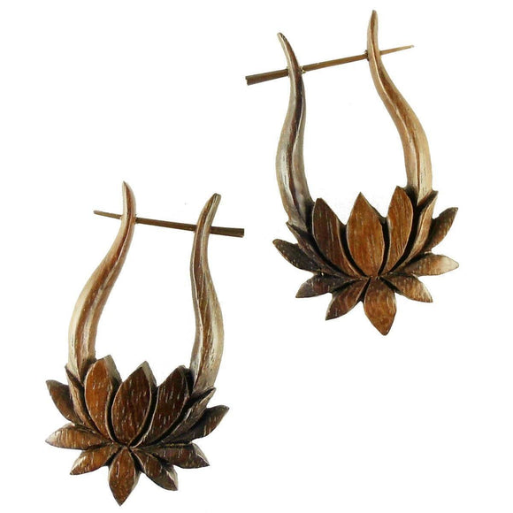 Wooden Jewelry | Lotus, wood. Boho Dangle Earrings. Tribal Jewelry.
