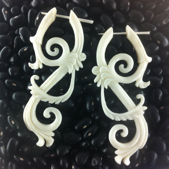 $30 to $50 Spiral Earrings | Bohemian Lace. Boho Earrings, Bone Jewelry.