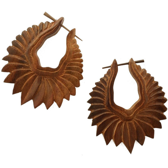 Hoop Earrings | Fire Blossom. Wood Earrings. Natural Sono, Handmade Wooden Jewelry.