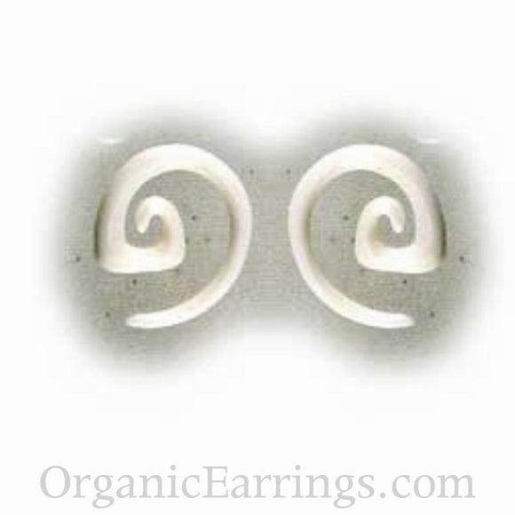 Mens Spiral Earrings | Garuda Spiral. Bone 8g Organic Body Jewelry.