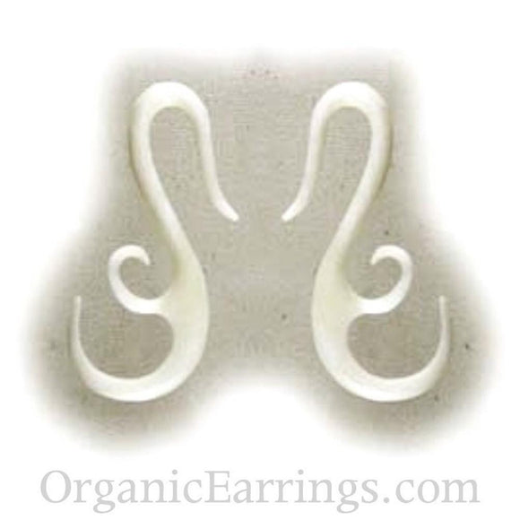 8 Gauges | French Hook Wing, white. Bone 8g Body Jewelry.