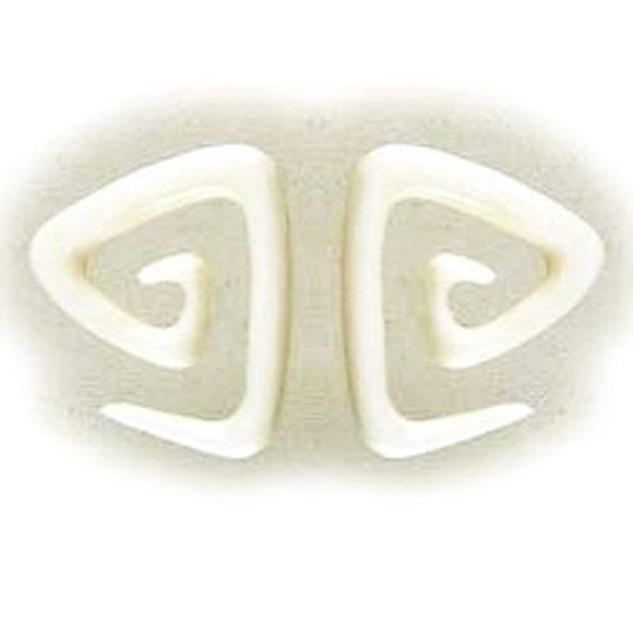 Bone Jewelry | Triangle spiral. Bone 4g Organic Body Jewelry.