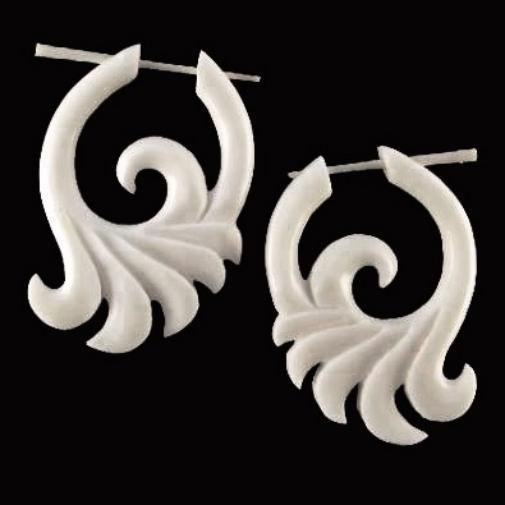 Stick Spiral Earrings | Ocean Wings, white. Carved Bone Jewelry, Tribal Earrings.