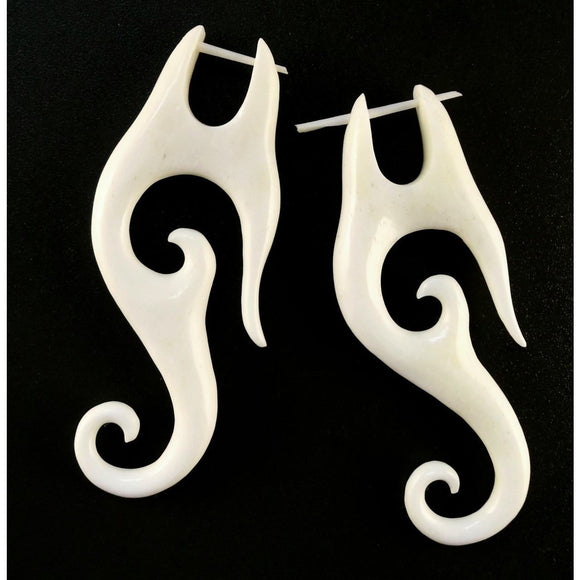 Boho Bone Earrings | Drop Spiral Earrings. Carved Bone Jewelry, Tribal.