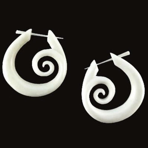 Stick Spiral Earrings | Spiral Hoops, white. Tribal Earrings. Carved Jewelry.