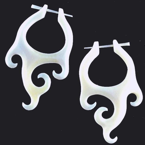 $30 to $50 Spiral Earrings | Goddess Wings. Carved Bone Jewelry, Natural Earrings.