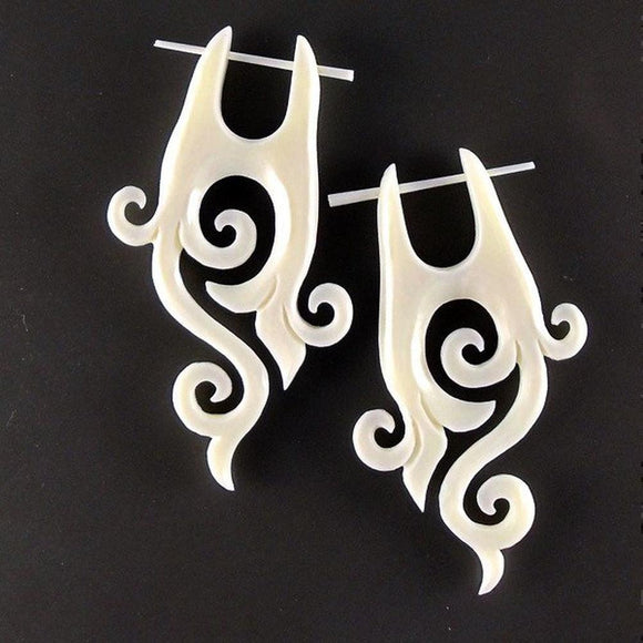 $30 to $50 Spiral Earrings | Enchanted. Boho Earrings. Bone Jewelry.