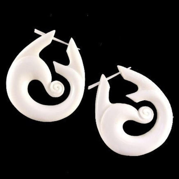Bone Spiral Earrings | Tribal Wind. Handmade Earrings, Bone Jewelry.