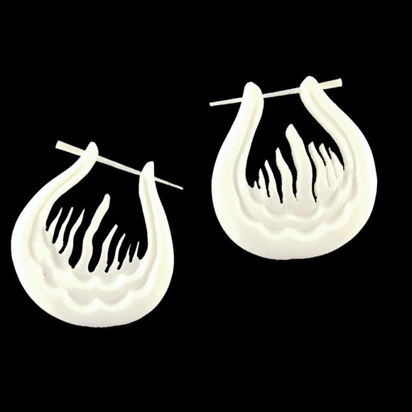 Hoop Earrings | Agni. (Sacred fire) Carved Earrings. Bone.