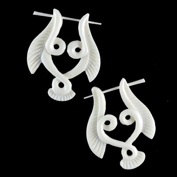 Buffalo bone Earrings | Serpent Wings. Carved Bone Jewelry, Natural Earrings.