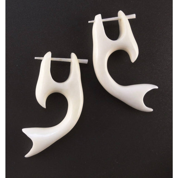 Sale and Clearance | Whale Tail, Bone Earrings, 3/4