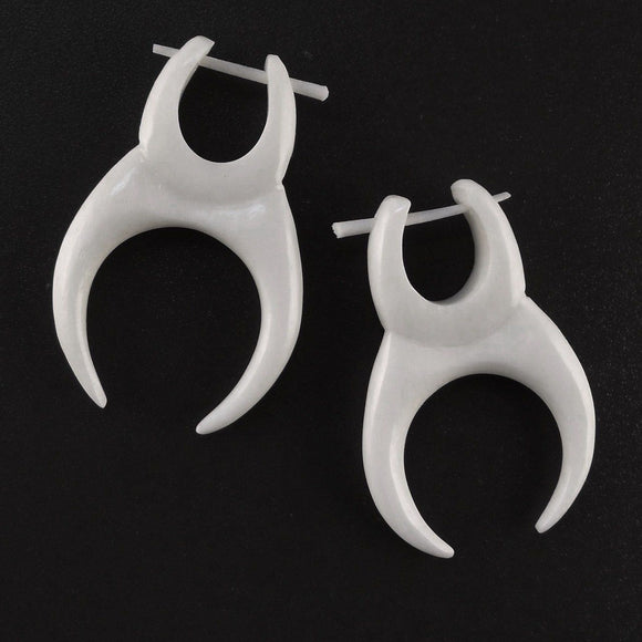 Drop Hawaiian Bone Jewelry | Crescent, white. Tusk Earrings, Bone Jewelry.