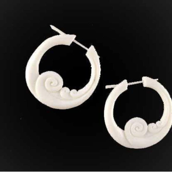 Bone Hoop Earrings | Wave Hoop. Handmade Earrings, Bone Jewelry.