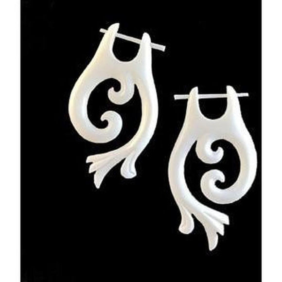 Spiral earrings Hawaiian Bone Jewelry | Falcon Vine. Bone Earrings. 1
