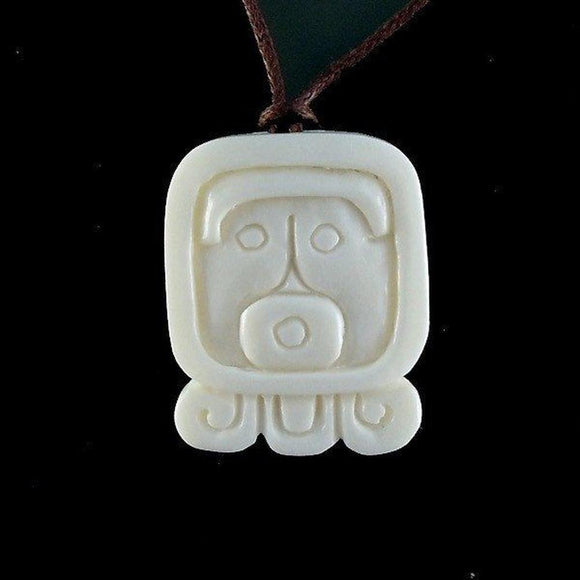 Sale and Clearance | Ahau. Mayan Glyph. Bone Necklace. Carved Jewelry.