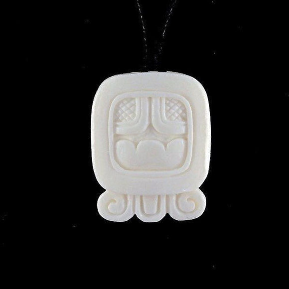 Sale and Clearance | Akbal. Mayan Glyph. Bone Necklace. Carved Jewelry.
