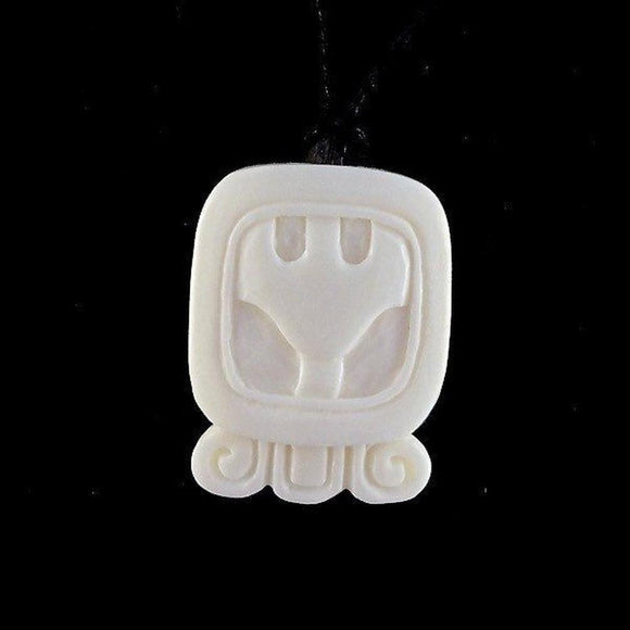 Sale and Clearance | Ben. Mayan Glyph. Bone Necklace. Carved Jewelry.