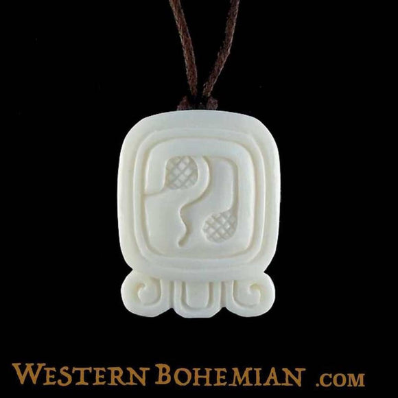 Sale and Clearance | Caban. Mayan Glyph. Bone Necklace. Carved Jewelry.