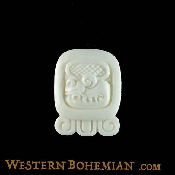Sale and Clearance | Chicchan. Mayan Glyph. Bone Necklace. Carved Jewelry.