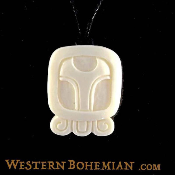 Sale and Clearance | Chuen. Mayan Glyph. Bone Necklace. Carved Jewelry.