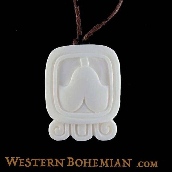 Bone Jewelry | Cib. Mayan Glyph. Bone Necklace. Carved Jewelry.