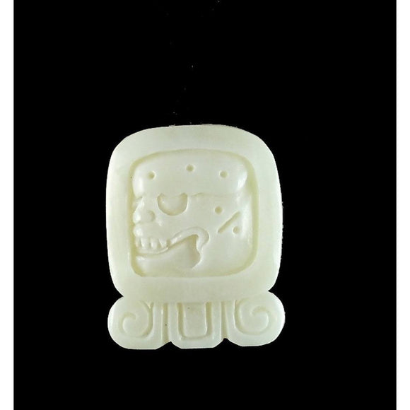 Sale and Clearance | Cimi. Mayan Glyph. Bone Necklace. Carved Jewelry.