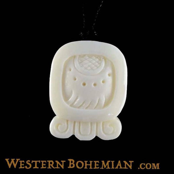 Bone Jewelry | Imix. Mayan Glyph. Bone Necklace. Carved Jewelry.