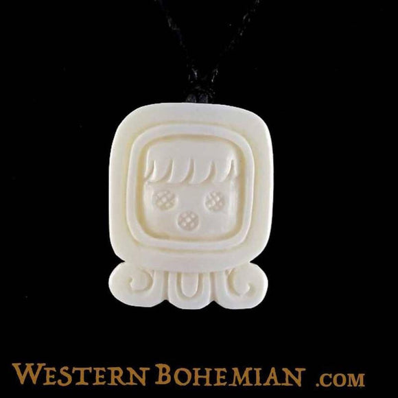 Sale and Clearance | Ix. Mayan Glyph. Bone Necklace. Carved Jewelry.