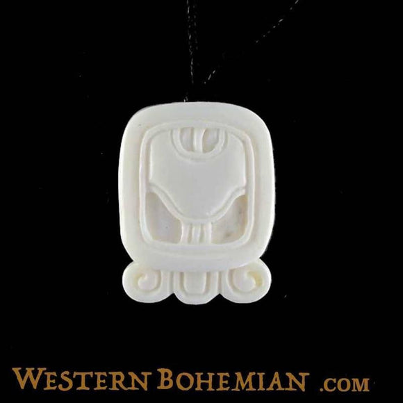 Sale and Clearance | Khan. Mayan Glyph. Bone Necklace. Carved Jewelry.