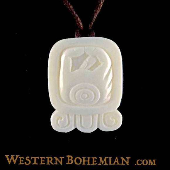 Sale and Clearance | Manik. Mayan Glyph. Bone Necklace. Carved Jewelry.