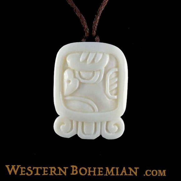Sale and Clearance | Men. Mayan Glyph. Bone Necklace. Carved Jewelry.